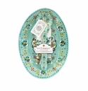 Le Cadeaux Oval Serving Platter With Servers And Matching Tea Towel Gift Set Madrid Turquoise