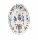 Le Cadeaux Oval Serving Platter With Servers And Matching Tea Towel Gift Set Madrid White