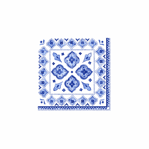 Le Cadeaux Patterned Paper Cocktail 10 X 10 Napkins 15.75 X 15.75 20 Pcs Moroccan Blue