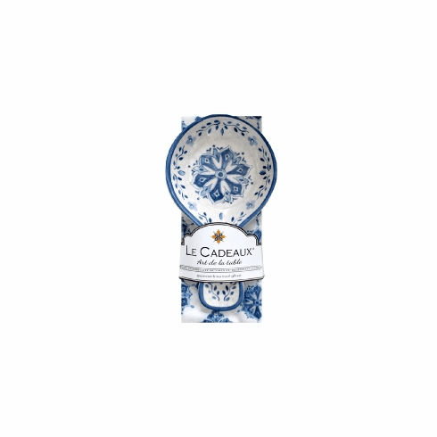 Le Cadeaux Spoon Rest With Matching Tea Towel Gift Set Moroccan Blue