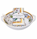 Le Cadeaux Two Handle Bowl With Matching Tea Towel Gift Set Capri