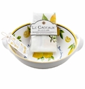 Le Cadeaux Two Handle Bowl With Matching Tea Towel Gift Set Lemon Basil