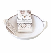 Le Cadeaux Two Handle Bowl With Matching Tea Towel Gift Set Rustica Antique White