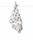 "Little Giraffe Luxe Cream New Dot Small Flax Satin Blanket ""Blanky"""