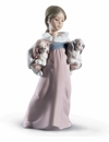 Lladro Arms Full Of Love Girl with 2 Dogs Figurine