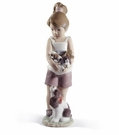 Lladro Can I Keep Them? Girl with Puppies Porcelain Figurine