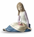 Lladro Contemplative Young Girl Figure