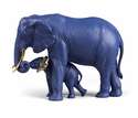 Lladro Leading The Way (Blue-Gold) Porcelain Elephant Pair Figure