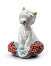 Lladro Playful Character Dog (Carnations) Figure