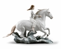 Lladro Riding Her Horse On The Seashore Figure