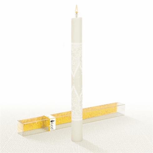 Lucid Liquid Candles - 1x11 White on Natural Grace Lace Dinner Candle