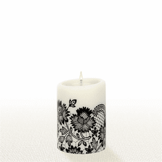 Lucid Liquid Candles - 3x4 Black on Natural Allure Lace Pillar Candle