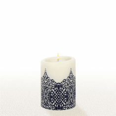 Lucid Liquid Candles - 3x4 Indigo on Natural Byzantine Pillar Candle