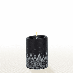 Lucid Liquid Candles - 3x4 White on Black Grace Lace Pillar Candle