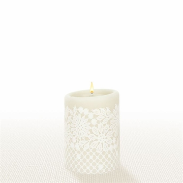 Lucid Liquid Candles - 3x4 White on Natural Charity Lace Pillar Candle