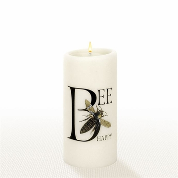 Lucid Liquid Candles - 3x6 Bee Happy Natural Pillar Candle