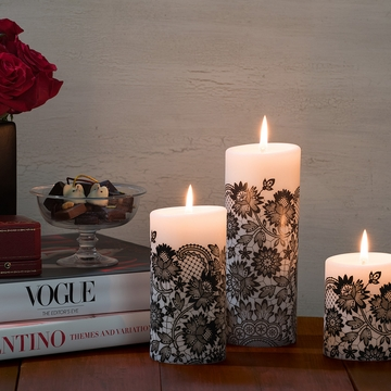 Lucid Liquid Candles - 3x6 Black on Natural Allure Lace Pillar Candle
