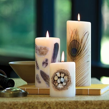 Lucid Liquid Candles - 3x6 Feathers Natural Pillar Candle