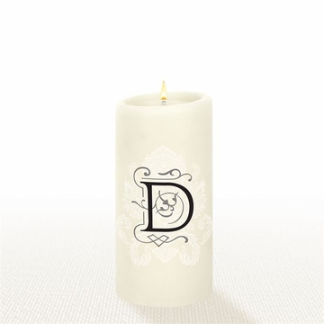 Lucid Liquid Candles - 3x6 Florentine Letter D Natural Pillar Candle