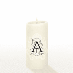Lucid Liquid Candles - 3x6 Florentine Letter A Natural Pillar Candle