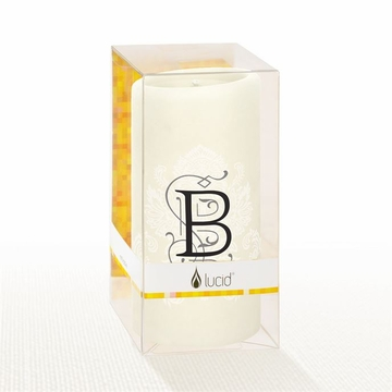 Lucid Liquid Candles - 3x6 Florentine Letter B Natural Pillar Candle