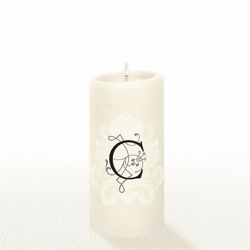 Lucid Liquid Candles - 3x6 Florentine Letter C Natural Pillar Candle