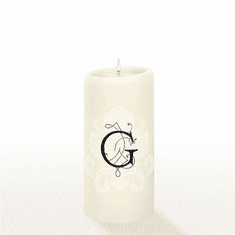 Lucid Liquid Candles - 3x6 Florentine Letter G Natural Pillar Candle