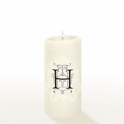Lucid Liquid Candles - 3x6 Florentine Letter H Natural Pillar Candle