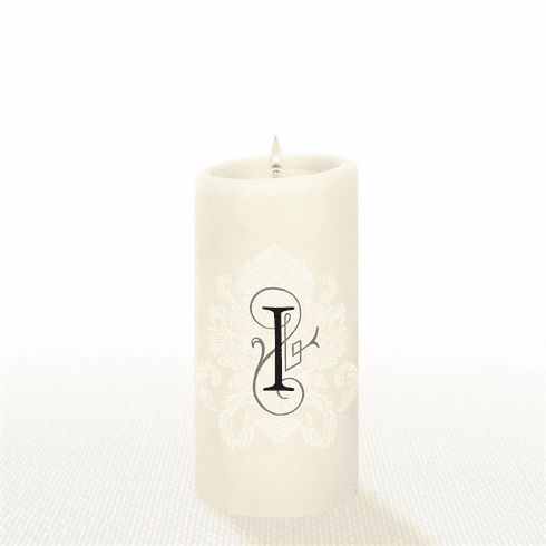 Lucid Liquid Candles - 3x6 Florentine Letter I Natural Pillar Candle