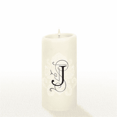 Lucid Liquid Candles - 3x6 Florentine Letter J Natural Pillar Candle
