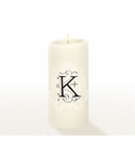 Lucid Liquid Candles - 3x6 Florentine Letter K Natural Pillar Candle
