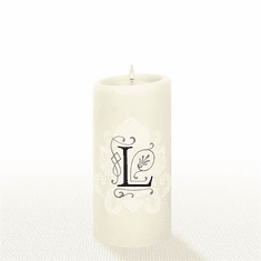 Lucid Liquid Candles - 3x6 Florentine Letter L Natural Pillar Candle