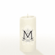 Lucid Liquid Candles - 3x6 Florentine Letter M Natural Pillar Candle
