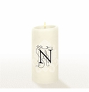 Lucid Liquid Candles - 3x6 Florentine Letter N Natural Pillar Candle