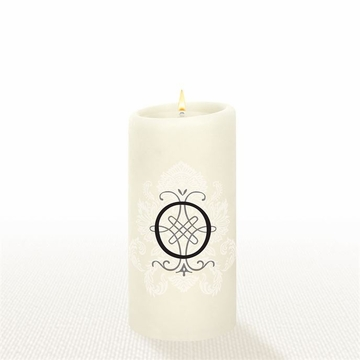 Lucid Liquid Candles - 3x6 Florentine Letter O Natural Pillar Candle