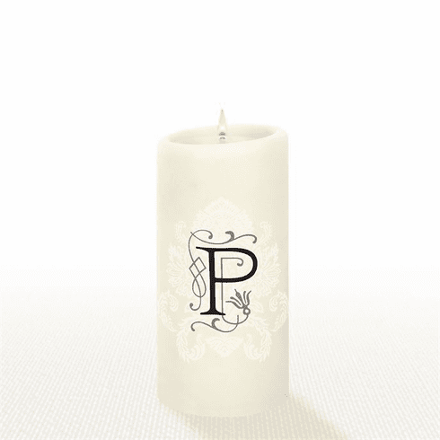 Lucid Liquid Candles - 3x6 Florentine Letter P Natural Pillar Candle