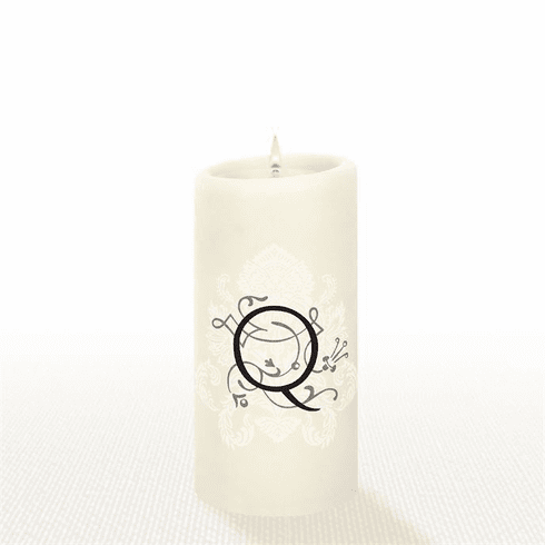 Lucid Liquid Candles - 3x6 Florentine Letter Q Natural Pillar Candle