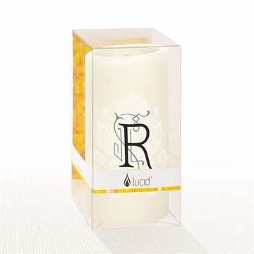 Lucid Liquid Candles - 3x6 Florentine Letter R Natural Pillar Candle