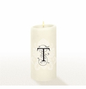 Lucid Liquid Candles - 3x6 Florentine Letter T Natural Pillar Candle
