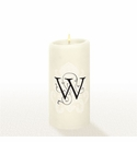 Lucid Liquid Candles - 3x6 Florentine Letter W Natural Pillar Candle