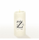 Lucid Liquid Candles - 3x6 Florentine Letter Z Natural Pillar Candle