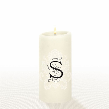 Lucid Liquid Candles - 3x6 Florentine Letter S Natural Pillar Candle