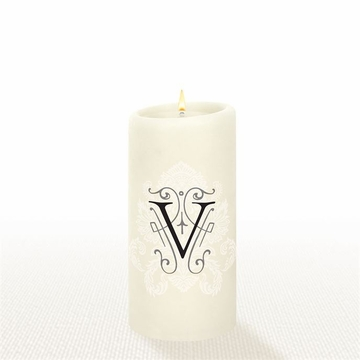 Lucid Liquid Candles - 3x6 Florentine Letter V Natural Pillar Candle