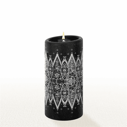 Lucid Liquid Candles - 3x6 White on Black Grace Lace Pillar Candle