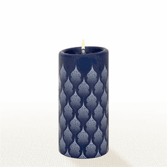 Lucid Liquid Candles - 3x6 White on Indigo Taj Mahal Pillar Candle