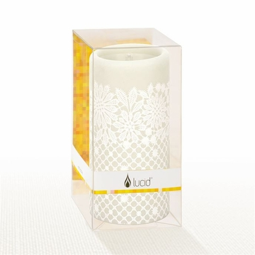 Lucid Liquid Candles - 3x6 White on Natural Charity Lace Pillar Candle
