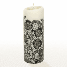 Lucid Liquid Candles - 3x8 Black on Natural Allure Lace Pillar Candle