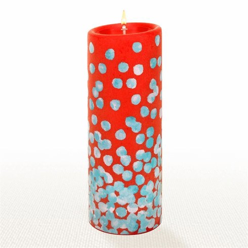 Lucid Liquid Candles - 3x8 Dotty Blue on Kumquat Pillar Candle