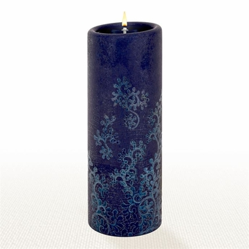 Lucid Liquid Candles - 3x8 Indigo on Indigo Swirls Pillar Candle