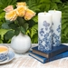 Lucid Liquid Candles - 3x8 Indigo on Natural Swirls Pillar Candle